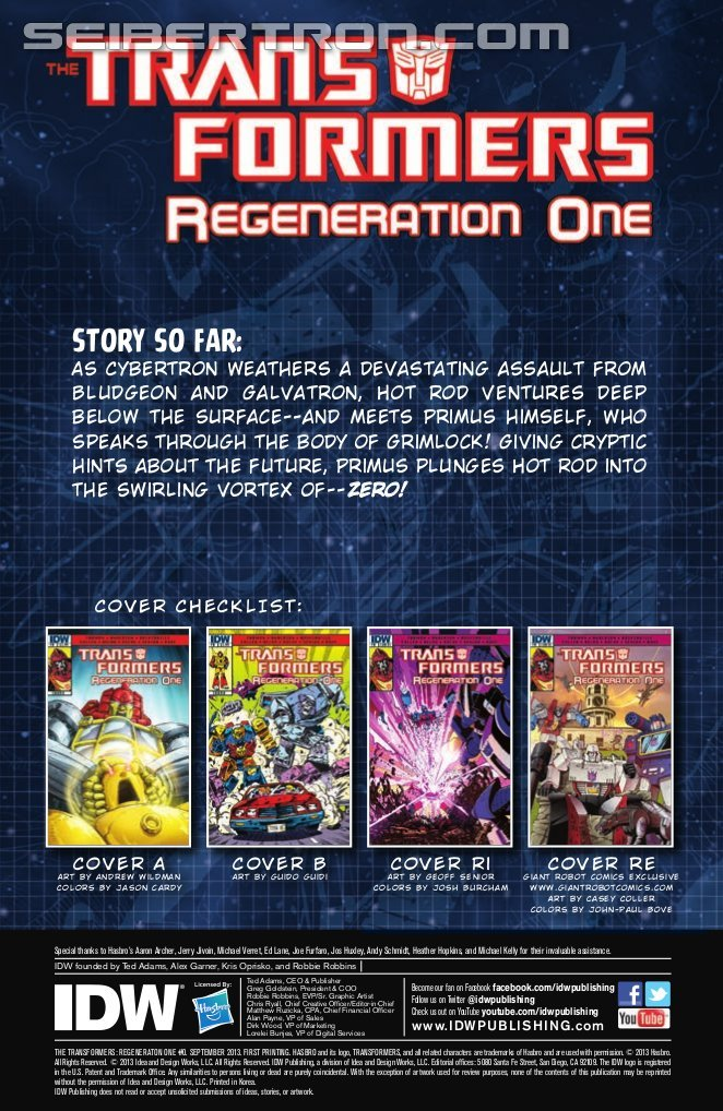Transformers News: IDW Transformers ReGeneration One #0 Preview