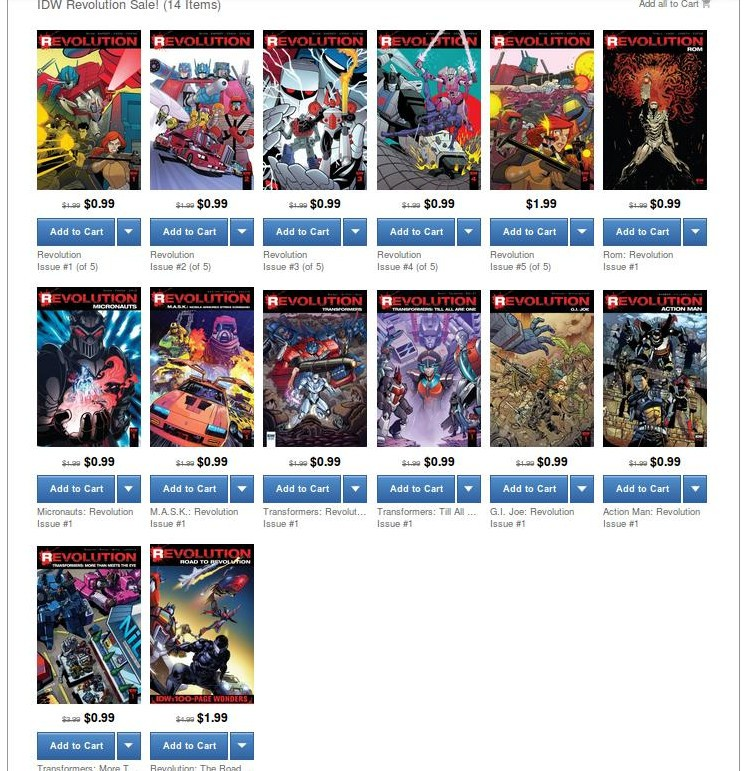 Transformers News: IDW Revolution Flash Sale on ComiXology, Ends 01/02