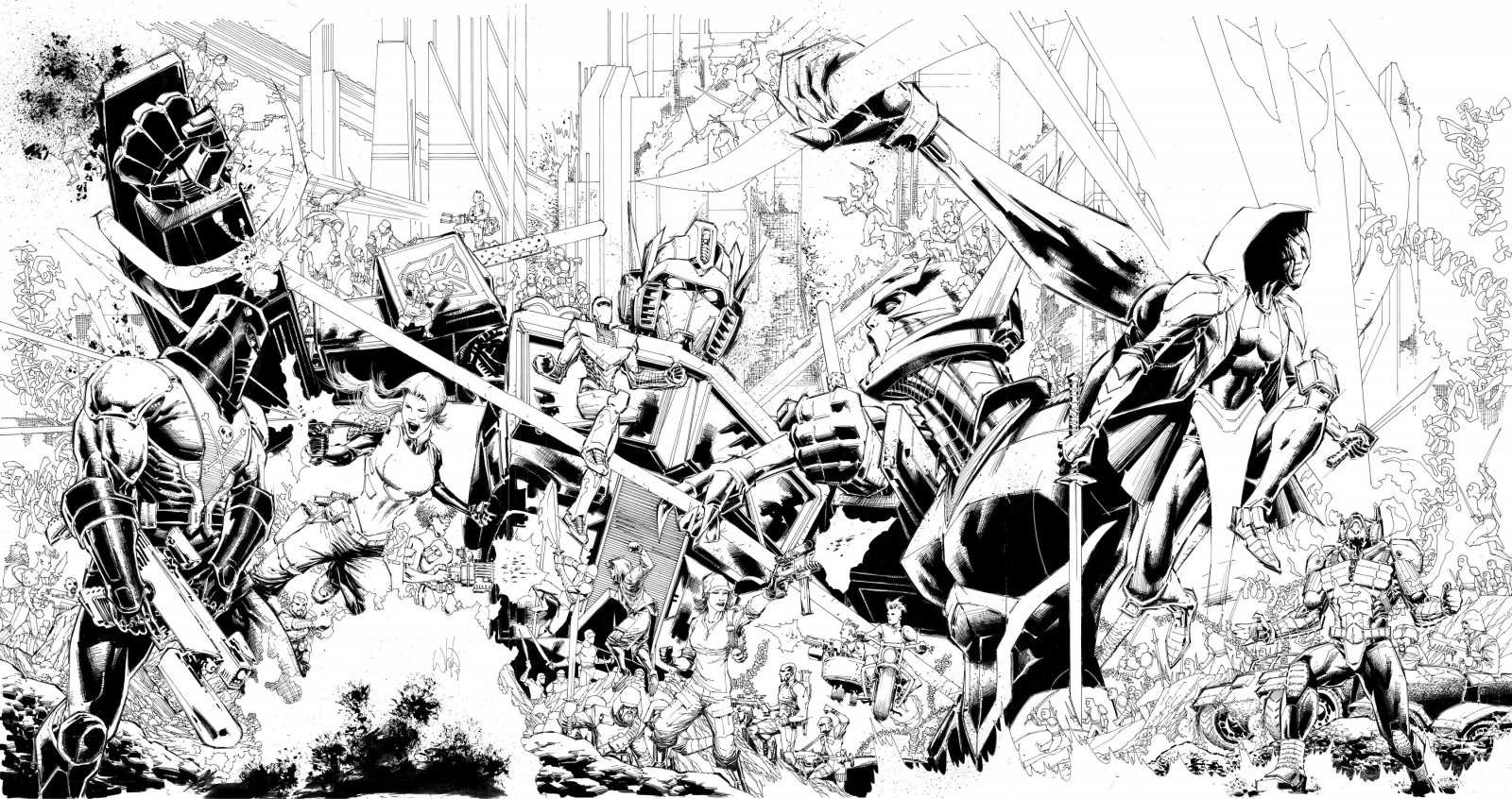 Transformers News: Tryptich Cover Art for IDW Hasbro Universe's First Strike by Whilce Portacio