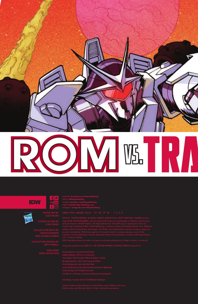 Transformers News: Full Preview for IDW Rom Vs Transformers: Shining Armor TPB