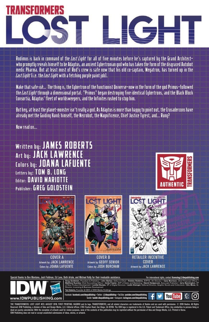 Transformers News: Full Spoiler Preview for IDW Transformers: Lost Light #23