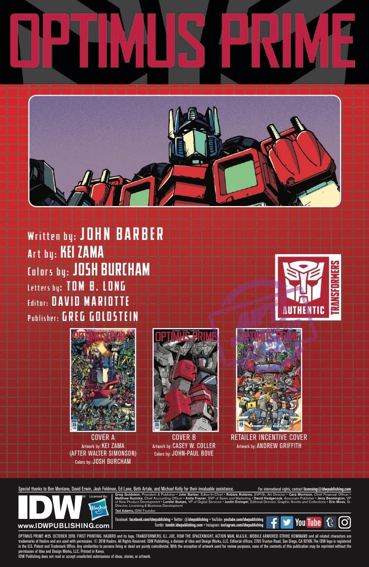 Transformers News: 5 Page Preview for IDW Optimus Prime 25 Final Issue