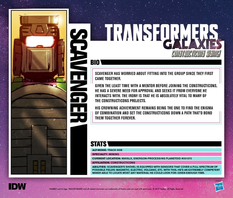 Transformers News: IDW Transformers Galaxies All Constructicon Tech Specs Posted