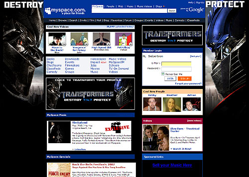 Transformers Movie invades MySpace.com (Part 2)