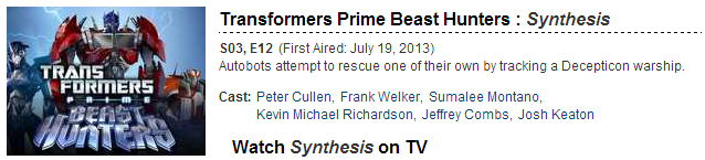 Re: Transformers Prime Beast Hunters Episode 12 Title and Description