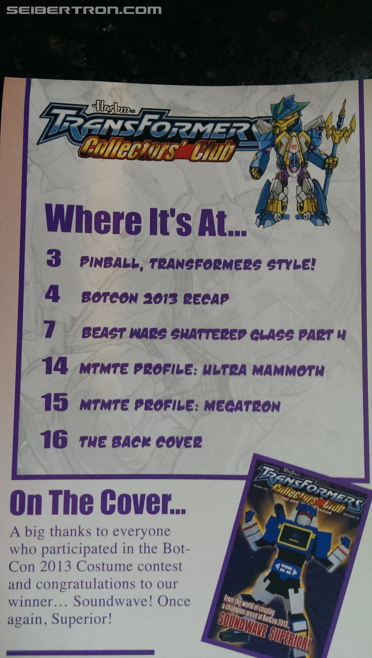Transformers Collectors' Club Magazine #52 - Cover and Contents