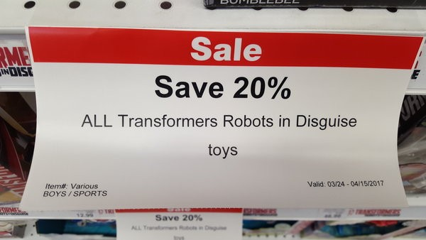 Transformers News: Steal of a Deal: Toys R Us 20% off RiD in store and online markdowns