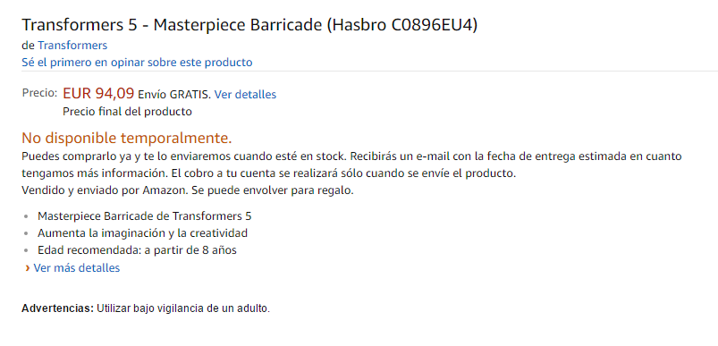 Transformers News: MPM 06 Movie Masterpiece Barricade Confirmed and Ready for Preorder at Amazon Spain