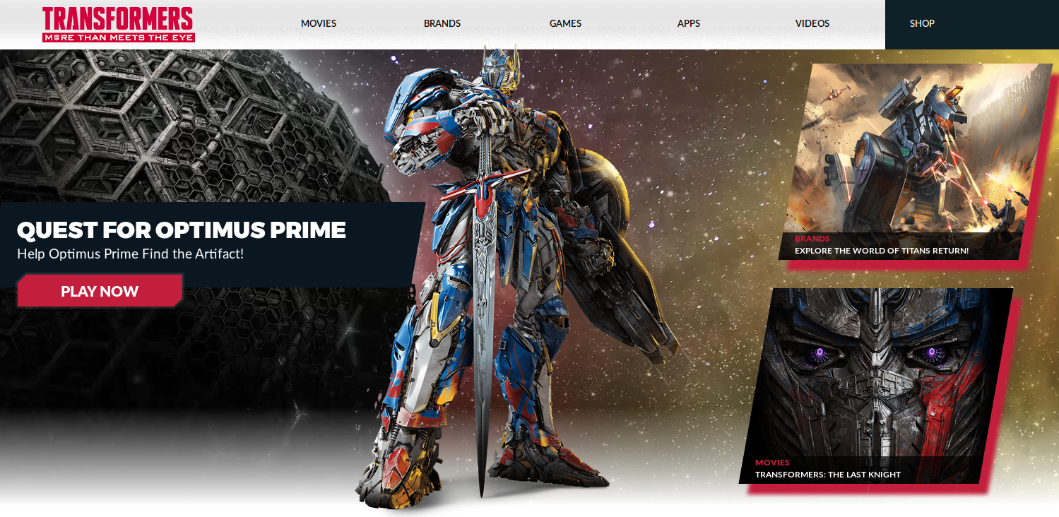 Transformers News: New Hasbro Transformers: The Last Knight Site Update with Quest for Optimus Prime Games