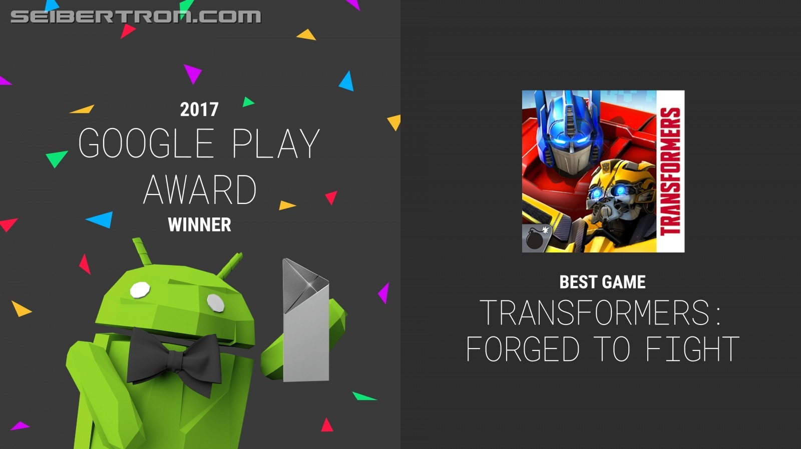 Transformers News: Official press Release on Kabam's Transformers: Forged to Fight Winning Best Game