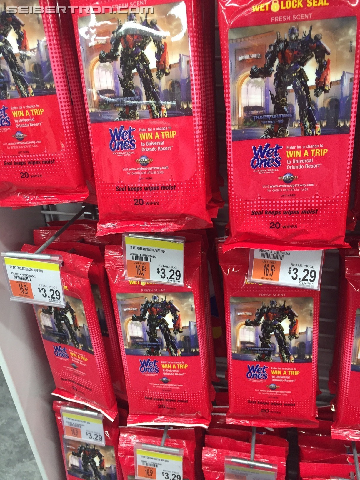 Transformers News: Transformers Branded Wet Ones Wipes Found at Retail and Universal Studios Vacation Contest