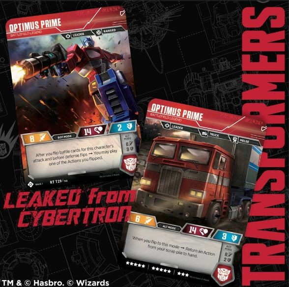 Transformers News: Leaked from Cybertron- Optimus Prime as featured in the Transformers Trading Card Game