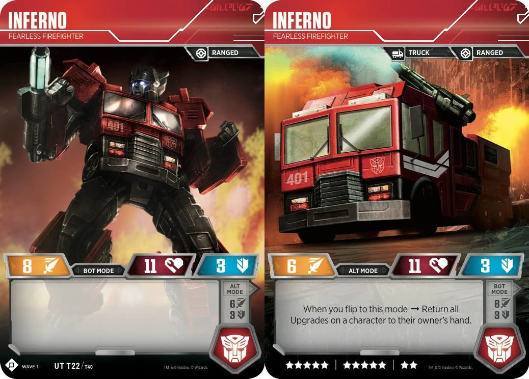Transformers News: Inferno revealed for Wizards of the Coast's Official Transformers Trading Card Game