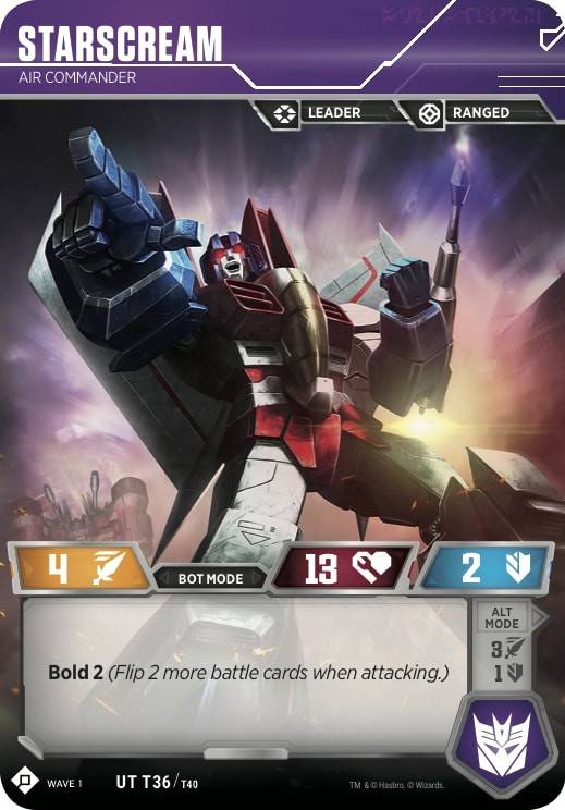Transformers News: Starscream revealed for the Official Transformers Trading Card Game