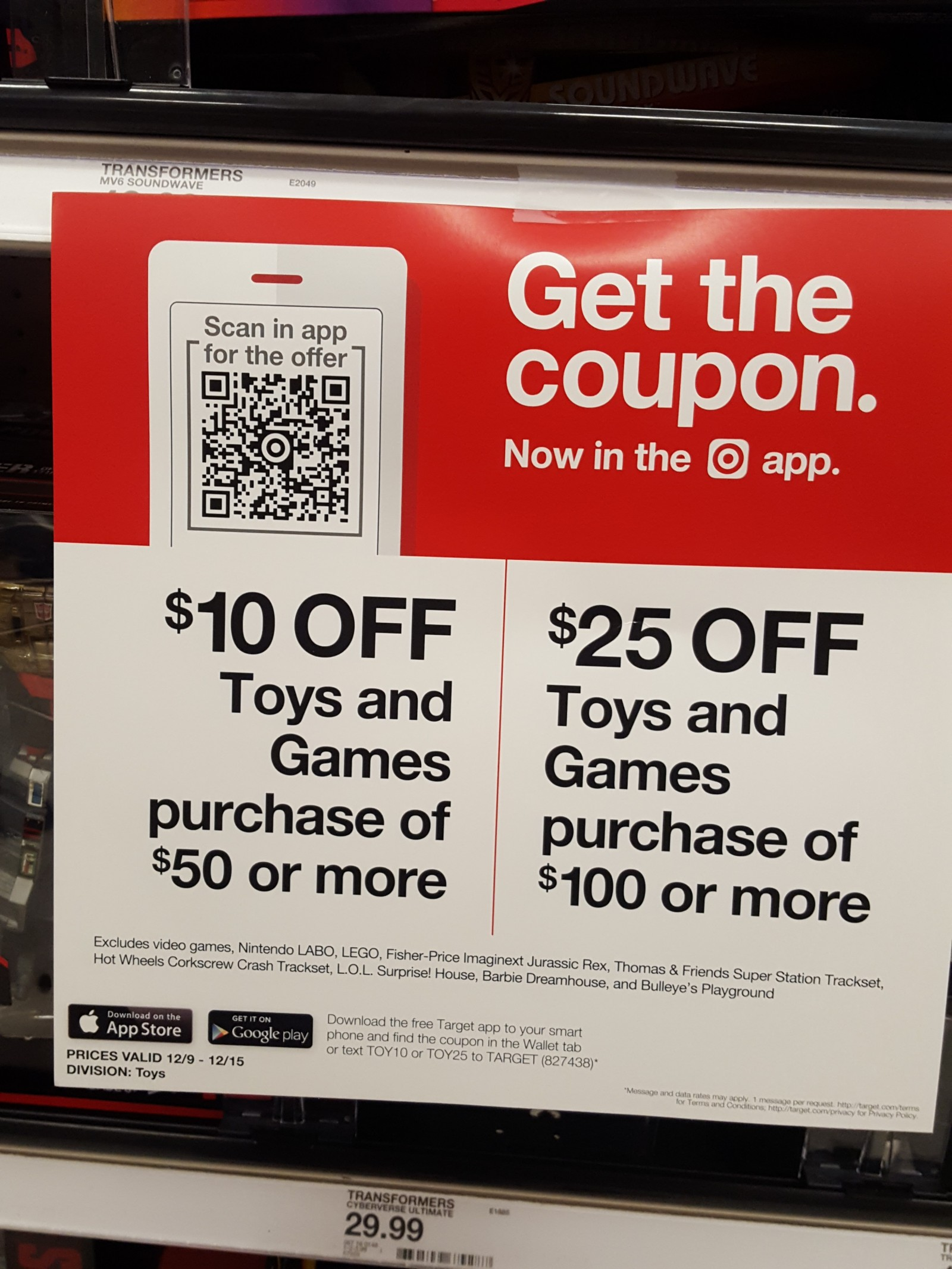 Transformers News: 25$ Off Your Purchase of Toys and Games at Target