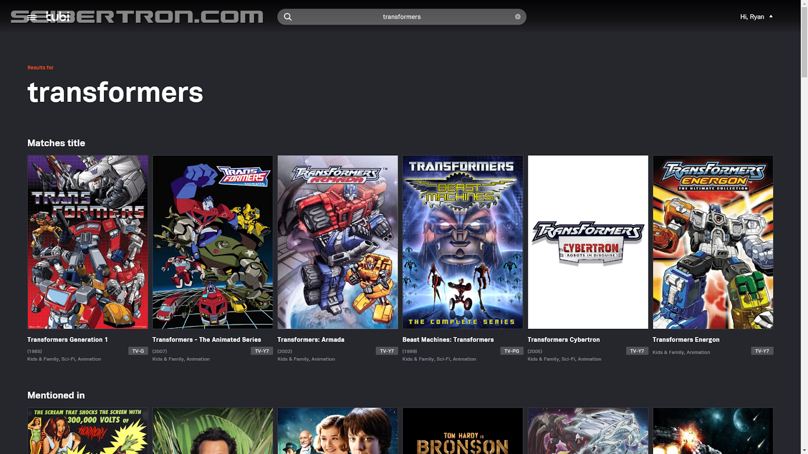 Transformers News: Tubi TV Now Brings You (Most of) Your Favorite Transformers Cartoons of the Past!