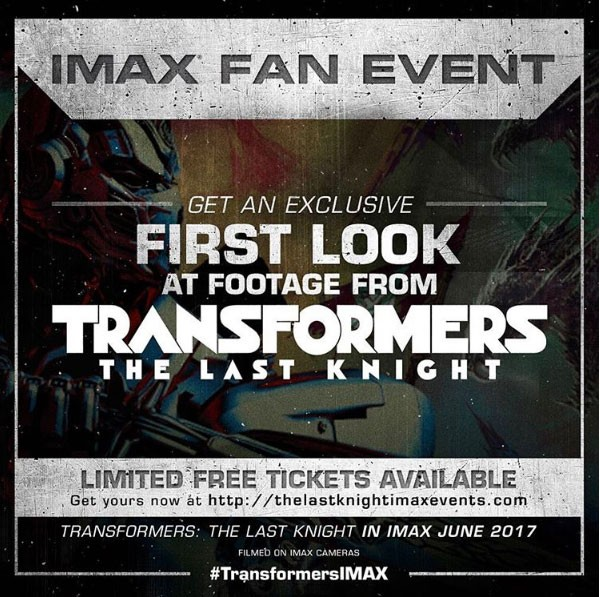 Transformers News: Free tickets to Last Knight IMAX Fan Event now available online