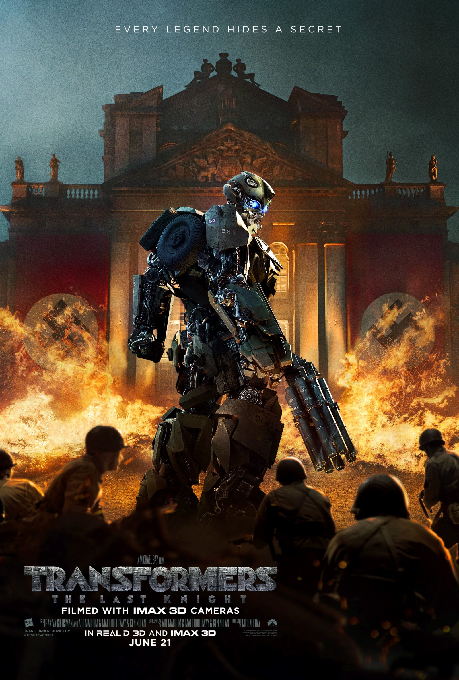 "Transformers News: New Last Knight ""Every Legend Hides A Secret"" Poster featuring Bumblebee during WWII"