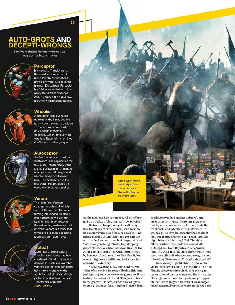 Transformers News: Scans for Empire Magazine Transformers: The Last Knight Article: Prequels, Sequels, and More