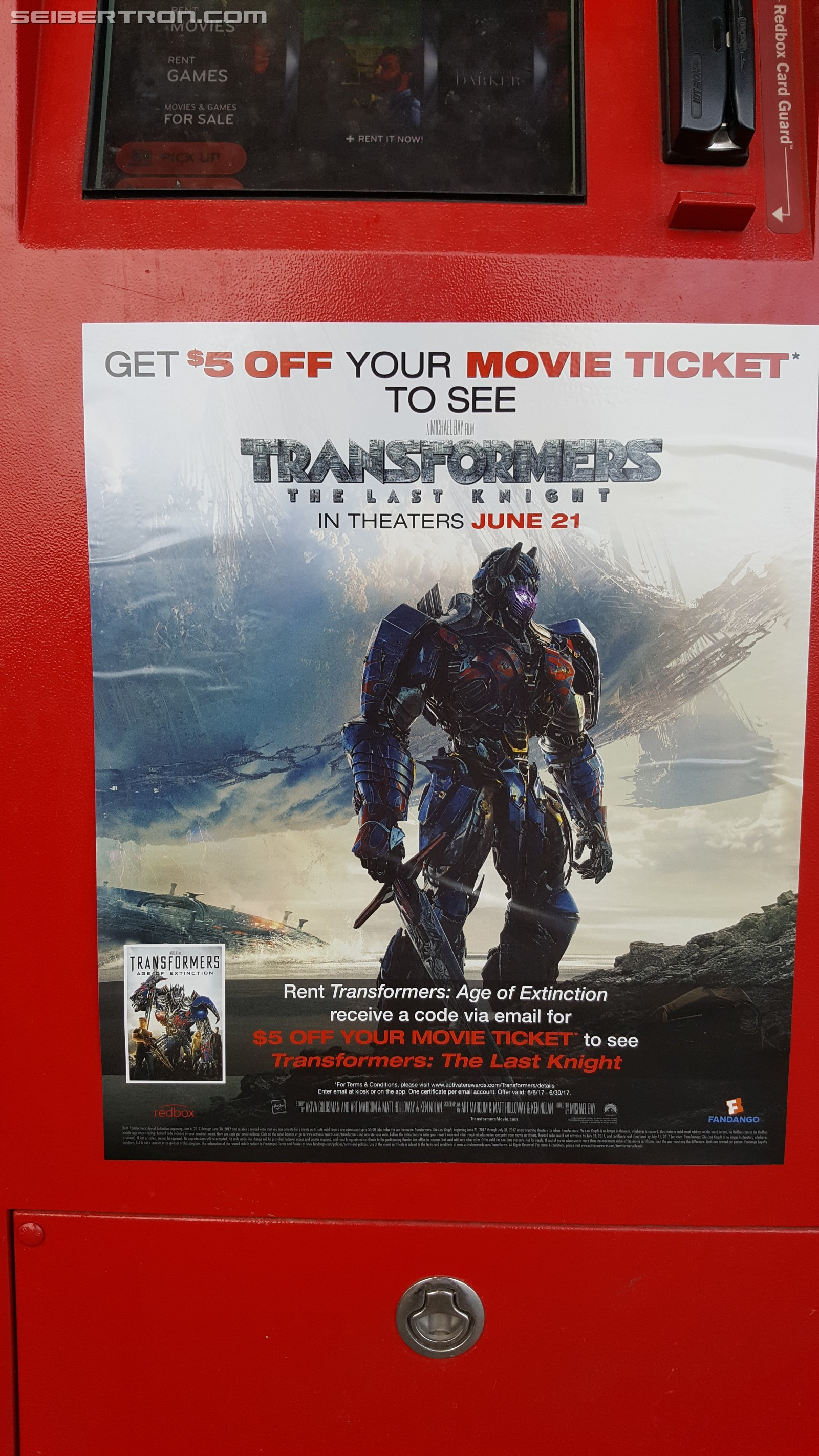 Transformers The Last Knight Redbox Promotion