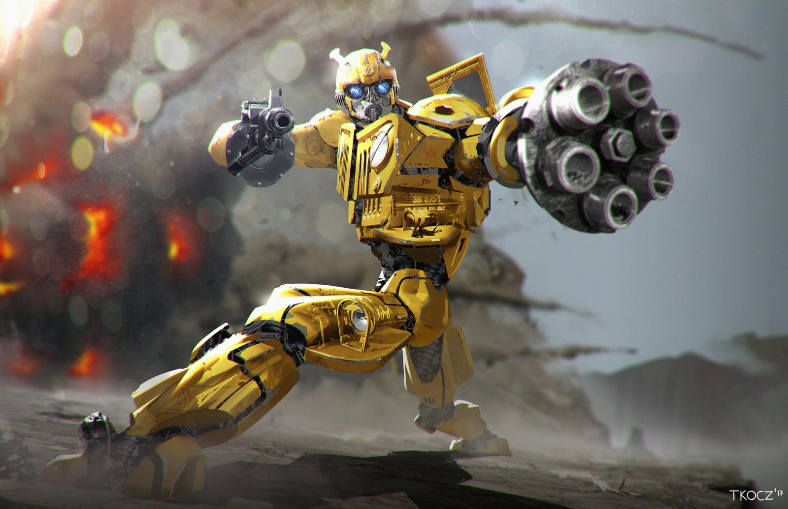 Transformers News: Bumblebee film concept art by Matt Tkocz, video on the sound production, VW Beetle on display