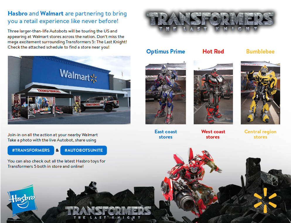 Walmart Transformers The Last Knight Autobots Unite Tour Dates Online