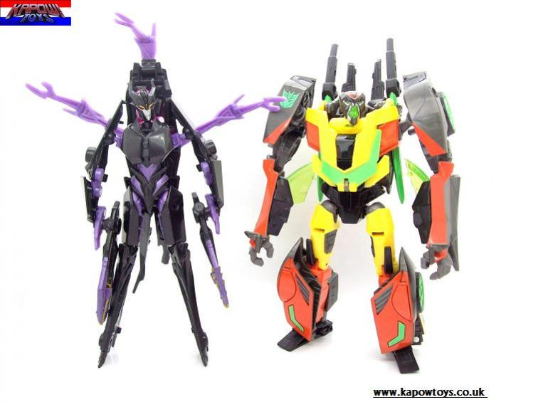 Transformers Prime Dead End, Shadow Strike Bumblebee, and Airachnid In-Hand Images