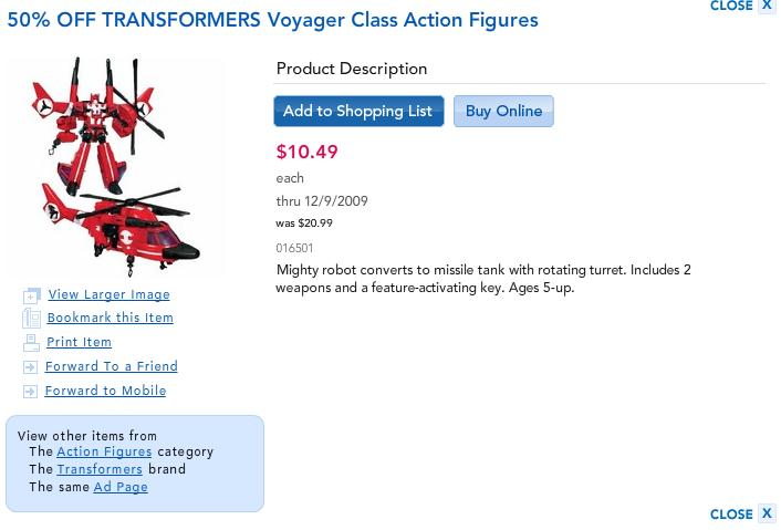 Toys R Us 50% Off Transformers Voyagers 1 Day Sale