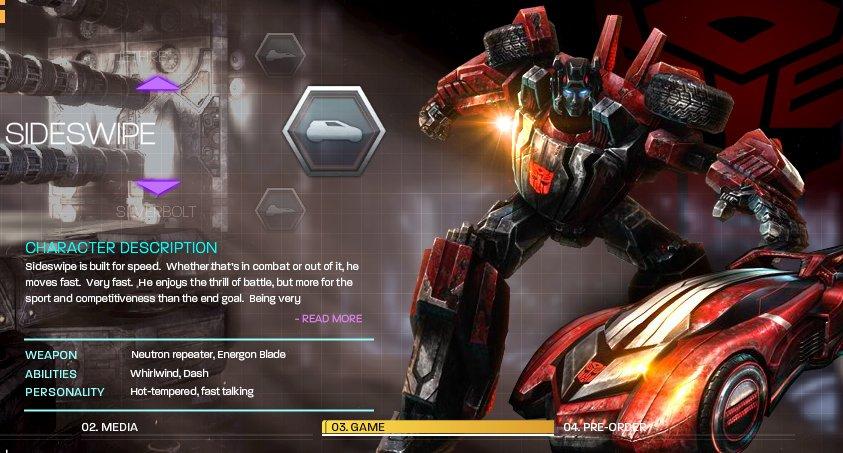 [Jeu vidéo] Transformers War For Cybertron/La Guerre pour Cybertron + Jouets - Page 4 1273693350_wfcsideswipe