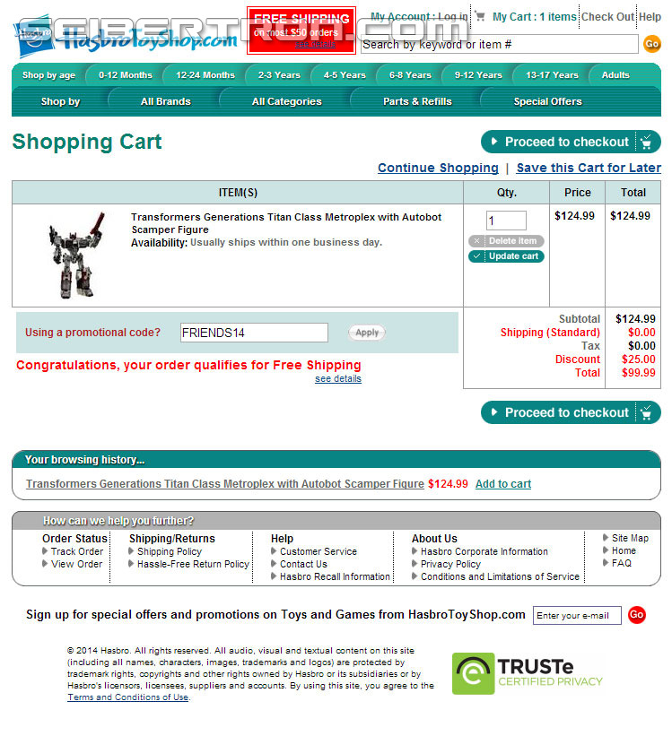 Transformers News: Hasbro Toy Shop Offering 20% Off & Free Shipping Until April 7th.
