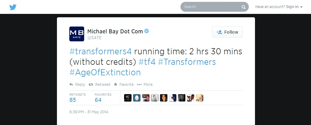 Transformers News: Michael Bay Confirms AoE's Runtime Via Twitter