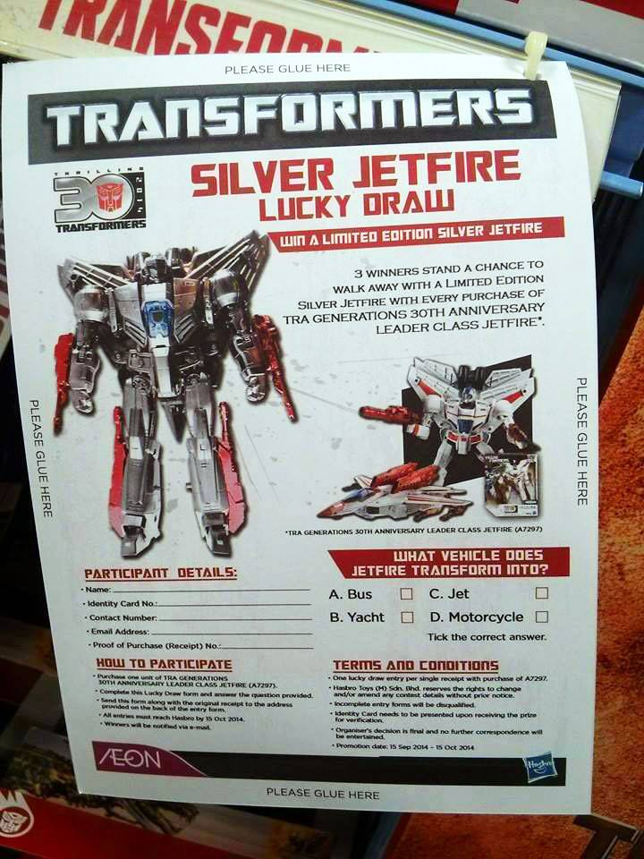 Transformers News: Lucky Draw Silver Jetfire Revealed