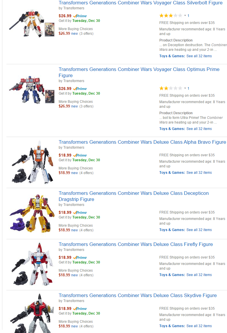 Transformers News: Transformers Generations Combiner Wars Wave 1 Voyagers & Deluxes Now In Stock @ Amazon
