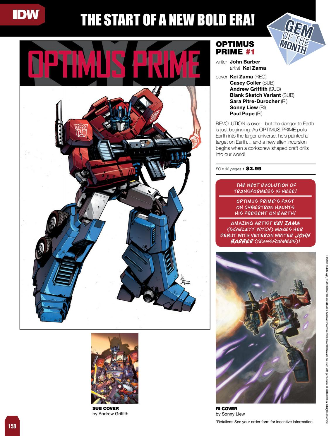 Transformers News: IDW Transformers November 2016 Solicitations
