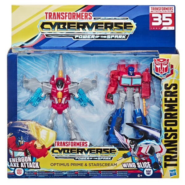 Transformers News: Transformers Cyberverse Warrior Class Optimus Prime And Starscream 2 Pack At Retail