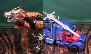 Transformers News: Video Review - Transformers: Age of Extinction Flip'n' Change Grimlock, Smash'n'Change Optimus Prime