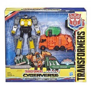 Video Review for Transformers Cyberverse Power of the Spark Grimlock with Trash Crash Spark Armor