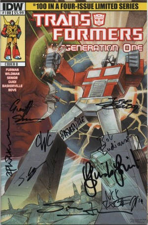 Transformers News: Charity Auction - Transformers: ReGeneration One #100 Multiple Signatures via Andrew Wildman