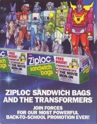 1986 Transformers The Movie Ziploc Promotion Salesman's Sample Kit