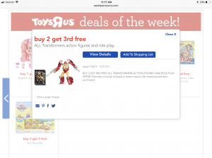 """Toys R Us Running a """"Buy 2 Get 1 Free"""" Sale on Transformers"""