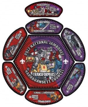 National Jamboree 2017 Boy Scout patches featuring Generation 1 Transformers