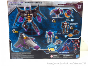 In-hand images of the WFC Siege Decepticon Phantomstrike Squadron, including images of the box