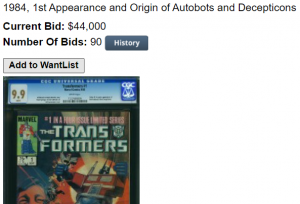 Transformers 1 Comic Sells for a Record $44,000
