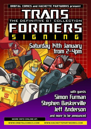 Furman, Baskerville, Anderson, Bove, Sullivan Attending Transformers: The Definitive G1 Collection Signing at Orbital Comics, London (UK)