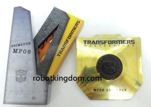Transformers News: In-Hand Images: MP-08 Masterpiece Grimlock Reissue Flamesword and Collector Coin