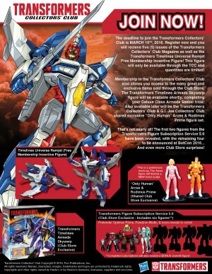 Transformers Collectors' Club Deadline Moved to March 18th