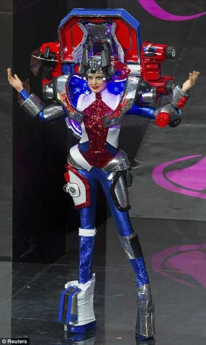 Miss USA Erin Brady Sports Optimus Prime-ish Outfit at Miss Universe National Costume Contest