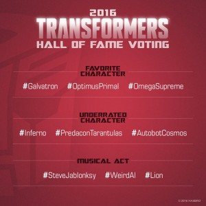 Transformers News: Hasbro's 2016 Transformers Hall of Fame Voting Now Open - UPDATED