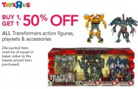 Toys'R'Us Transformers Sale - Buy One Get One 50% Off
