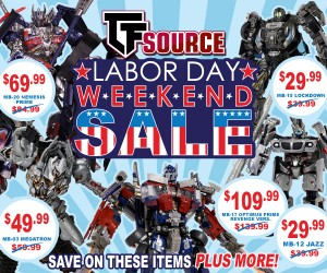 Transformers News: TFSource Labor Day Weekend Sale!